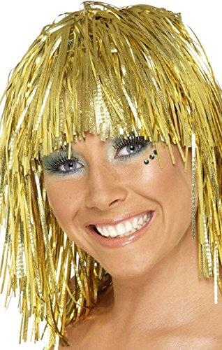 Adulti 1970 Disco Donna Cyber Tinsel parrucca Fancy Funny femmina Dress Up Gold Taglia unica