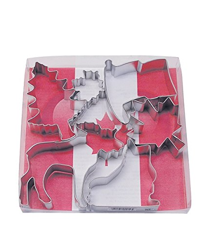 R&M International 1828 Canada Cookie Cutters, Flag, Moose, Maple Leaf, Ice Skate, Tree, Mini Leaf, 6-Piece Set -
