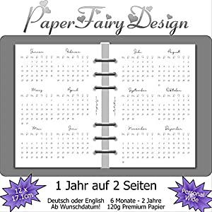 Kalendereinlagen 2020 - Personal Wide (12cm x 17,1cm) - 1 Jahr auf 2 Seiten - 120g Premium Papier