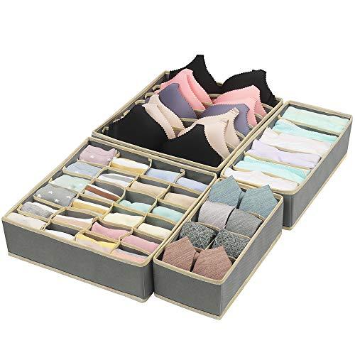 CGBOOM Aufbewahrungsbox für Unterwäsche und Socken Organizer, Schrank Organizerboxen, 4er Faltbox Schublade Organizer für BHS,Socken, und Krawatten,Dessous und Kleine Zubehörteile (Graue)