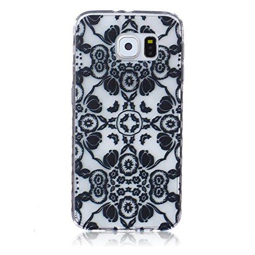 Galaxy S7 Hülle, Galaxy S7 Silikon Hülle Tasche Handyhülle [Kratzfeste, Scratch-Resistant], SainCat TPU Schutzhülle Ultradünn Weich Flexibel Silikonhülle Bumper Case Transparentes Silikon Schutzhülle  Schwarze Blumen