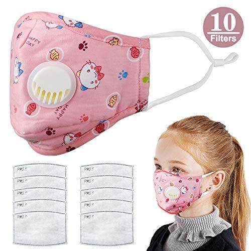 Máscara de carbón Activado para niños PM2.5 antihumo, Antipolvo, Humo, Gas y alergias, Ajustable y Reutilizable N95 Masks protección con 10 filtros