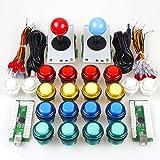 EG STARTS Arcade Classic DIY Kit Teile 2x USB-LED-Encoder zu PC Konsolen Spiele + 2x 4/8 Wege Joystick + 20x 5V beleuchtete Tasten für Mame Jamma (rot / blau Stick + MIX Farbtasten)