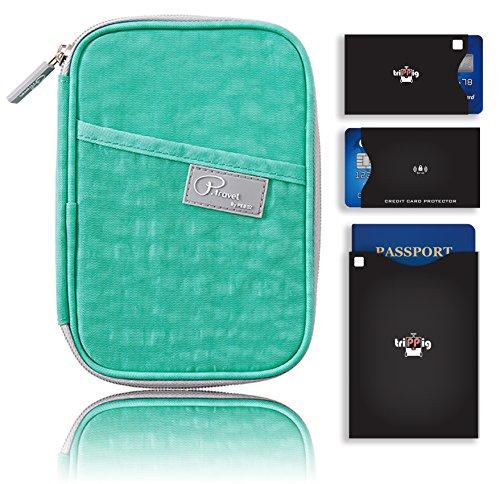 Passaporto Portafoglio/borsa da viaggio frizione/Card Cash Organizer passaporto/porta documenti con Hand Strap (Oxford Navy + RFID Stop) Nylon Mint