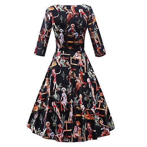 iLover 1950s Vintage 3/4 sleeves WesterGirl Print Robe de Cocktail Style Audrey Hepburn Rockabilly Robes de swing Noir