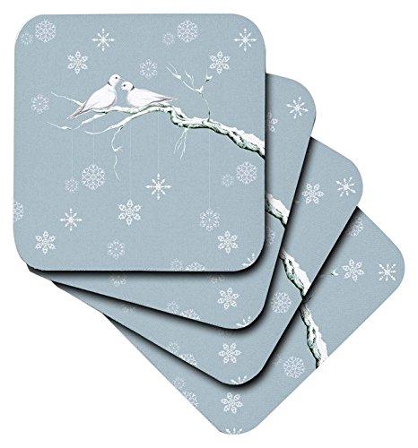 3drose Zwei Schildkröte Tauben und Pretty Schneeflocke ornaments zu Weihnachten–Soft-Untersetzer, Set 4(CST _ 216708_ 1) (Vier Weihnachts-ornament)