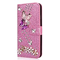 Mylne Diamond Case for Samsung Galaxy A9 2018,Luxury Glitter Rhinestone Butterfly Flower PU Leather Folio Flip Wallet Cover Magnetic Closure Card Slots,Pink