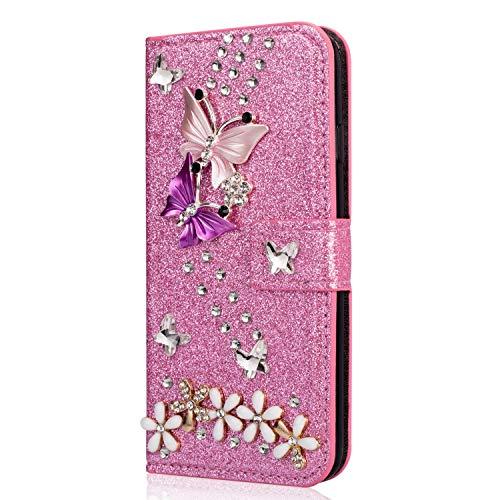 Miagon Hülle Glitzer für Huawei P30 Lite,Luxus Diamant Strass Schmetterling Blume PU Leder Handyhülle Ständer Funktion Schutzhülle Brieftasche Cover,Rosa