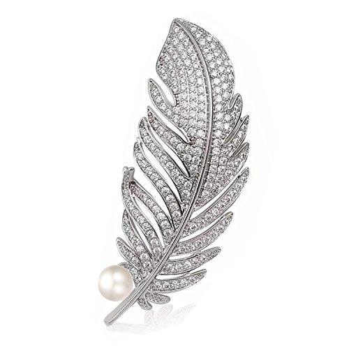 Luxurina Damen Elegant Pfau Feder Cubic Zirconia Künstliche Perle Brosche Pin Silber-Ton Klar
