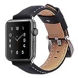 Apple Watch Armband 42mm,MisVoice Uhrenarmband Business Stil Hauptschicht Leder Ersatz Band/Armband mit Edelstahl Verschluss für iWatch Serie 0 1 2 3 Sport und Edition Versionen Schwarz