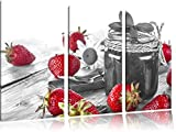 fruchtige Erdbeeren vor Marmeladenglas schwarz/weiß 3-Teiler Leinwandbild 120x80 Bild auf Leinwand, XXL riesige Bilder fertig gerahmt mit Keilrahmen, Kunstdruck auf Wandbild mit Rahmen, günstiger als Gemälde oder Ölbild, kein Poster oder Plakat