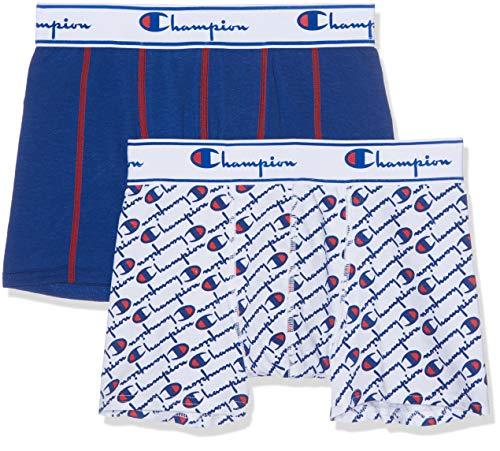 Champion Herren Boxer Coton Mix X2 Boxershorts 2er Pack, Mehrfarbig (Blanc Logo Bleu/Bleu 8tr), L (Herstellergröße: 4) (Herren-x2-unterwäsche)