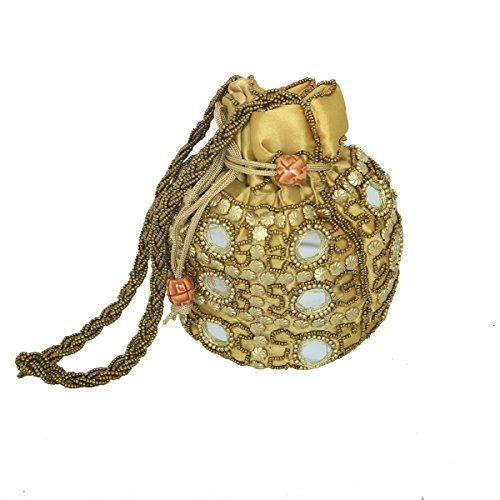 Kuber Industries™ Designer Ethnic Mirror Work Rajasthani Potli Bag / Clutch / Bridal Clutch ( Golden )  available at amazon for Rs.299
