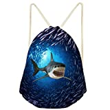 Nopersonality Underwater Shark Drawstring Bag School PE Sports Gym Shoes Toy Storage Backpack