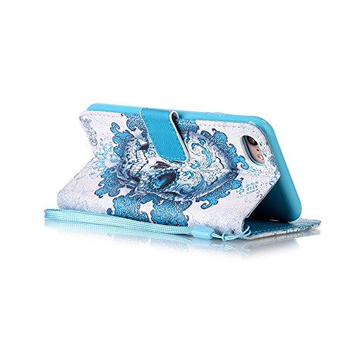 Portafoglio Custodia iPhone 7 Colore, Aeeque Barca a Vela Design Flip PU Pelle Wallet a Libro Stand Copertura Flip Cover Case Protettiva Antiurto da Esterno con Chiusura Magnetica Porta Carte di Credi Modello #28