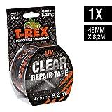 T-Rex Clear Repair - Ruban adhésif résistant invisible 820-48 - Pour fixer, réparer, sceller et protéger - Indéchirable et imperméable - Dimensions : 48mm x 8,2m - Couleur transparent...