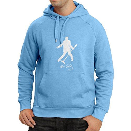 N4122H Felpa con cappuccio I love Elvis fans Azzurro Bianco