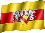 Flagge/Fahne BADEN mit Wappen Staatsflagge/Landesflagge/Hissflagge mit Ösen 150x90 cm, sehr gute Qualität