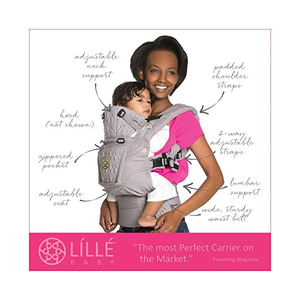 SIX-Position, 360° Ergonomic Baby & Child Carrier by LILLEbaby - The COMPLETE Embossed LUXE March of Dimes (Pink Ribbon) Lillebaby ERGONOMIC: Perfect for newborns. No insert needed. COMFORT: Voted most comfortable baby carrier. SIX (6) POSITIONS: Front inward (fetal, infant, or toddler settings), front outward, hip or back carry. 7 - 45 lbs. 2