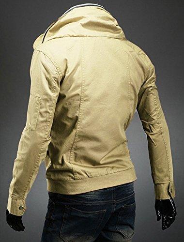 Hommes Convertible Col fermeture à glissière-Up Front Poches Nouveau Style Veste Kaki