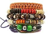 Neptune Giftware série de 5 Perles en Bois / Cordon en cuir & Surf Surfer Bracelets Bracelets style - (UN BRACELET A UNE TAILLE DE POIGNET MAX 17 cm). Contient 3 x perles en bois bracelets (élastique), 1 cordon x et bracelet de perles (entièremen...