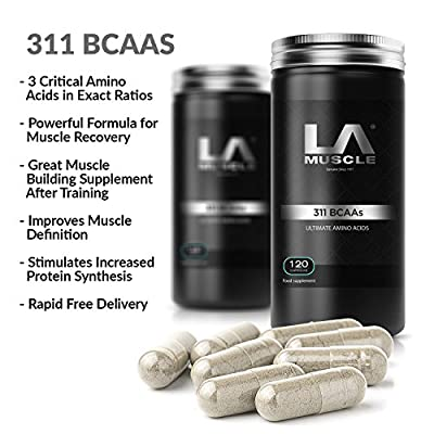 LA Muscle 311 BCAA Amino Acid Pills 120 capsules. Branched Chain Amino Acids, Improves Muscle Recovery Fast, Increases Lean Muscle Tissue Naturally and Quickly. Powerful 3-1-1 ratio. Pharma Grade Muscle Builder. Easy to Swallow Capsules. Lifetime Moneybac
