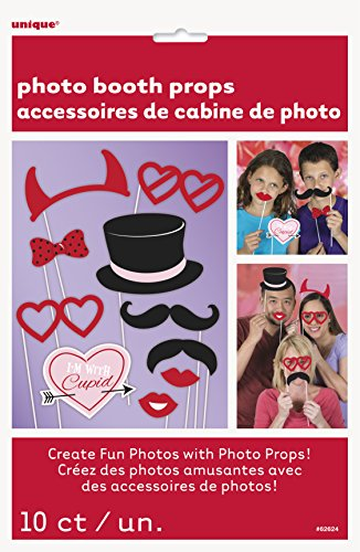 Unique Party Supplies Fotokabinen-Requisiten zum Valentinstag, 10 Stück