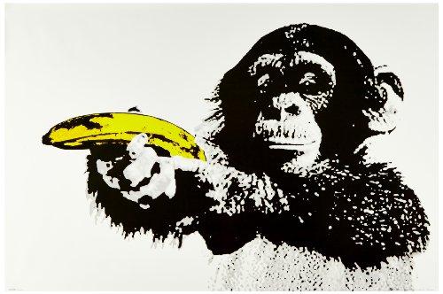 1art1 51479 Affen - Just Shoot Me, Bananen-Pistole Poster 91 x 61 cm