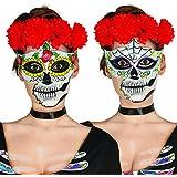 Antifaz Sugar Skull Máscara mexicana de muertos Halloween motivo hombre Media mascarilla La Catrina Careta Día de los muertos Cara calavera Rostro mexicano noche de brujas