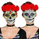NET TOYS Augenmaske Sugar Skull Mexikanische Totenmaske Motiv Mann La Catrina Halbmaske Halloween Todesmaske Tag der Toten Totenkopfmaske Calavera Mexican Skull Dia de los Muertos