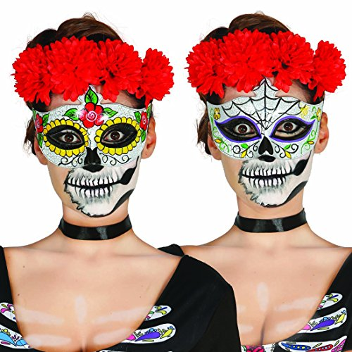 Augenmaske Sugar Skull Mexikanische Totenmaske Motiv Frau La Catrina Halbmaske Halloween Todesmaske Tag der Toten Totenkopfmaske Calavera Mexican Skull Dia de los Muertos (Tag Der Toten Frau Maske)