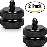 "Camera Hot Shoe Mount to 1/4""-20 Tripod Screw Adapter,Flash Shoe Mount for DSLR Camera Rig (Pack of 2)"