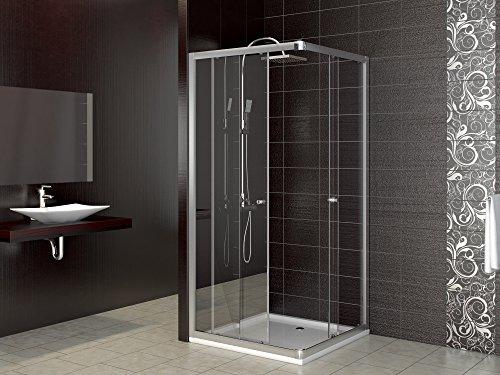 Duschabtrennung Schiebetür Eckdusche aus Glas in zwei Größen