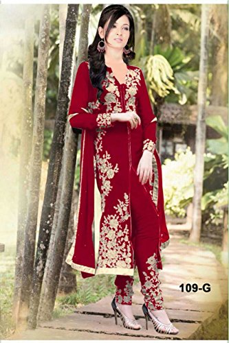 I-Brand Maroon Colored Georgette Fabric Salwar- Suit (Semi-Stitched) ( New Arrival Latest Best Design Beautiful Dresses Material Collection For Women and Girl Party wear Festival wear Special Function Events Wear In Low Price With High Demand Todays Special Offer and Deals with Fancy Designer and Bollywood Collection 2017 Punjabi Anarkali Chudidar Patialas Plazo pattern Suits )  available at amazon for Rs.705