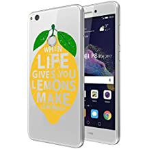 "Funda carcasa TPU Transparente para Huawei P8 Lite 2017 diseño limón con frase ""when life gives you lemons make lemonade"""