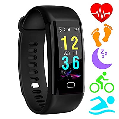Fitness Trackers,Homore Color Screen Heart Rate Monitor Activity Tracker Bluetooth Pedometer,IP68 Water Resistant Smart Bracelet Wristband with Sleep Monitor,Alarm,Step Tracker for iOS & Android by HOMORE