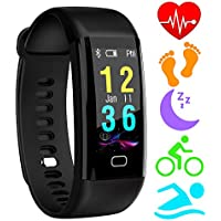 HOMORE Fitness Trackers, Color Screen Heart Rate Monitor Activity Tracker Bluetooth Pedometer,IP68 Waterproof Smart Bracelet Wristband with Sleep Monitor,Alarm,Step Tracker for iOS & Android