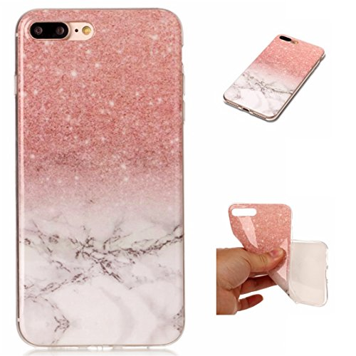 iPhone 7 Plus Hülle, Voguecase Silikon Schutzhülle / Case / Cover / Hülle / TPU Gel Skin für Apple iPhone 7 Plus 5.5(Marmor Serie -Pink und Schwarzes) + Gratis Universal Eingabestift Marmor Serie -Pink und Weiß