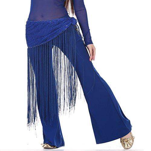 Bauchtanz Zigeuner tribal Hüfttuch latin Quasten Streifenband Gesellschafts sexy hip Schals (blau) (Bauchtanz Chiffon Hüfttuch)