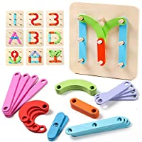 Lewo Wooden Letter Number Sorter Puzzle Educational Stacking Blocks Toy Preschool Learning Stem Toy Shape Color Recognition Board for Kids Toddler Gift