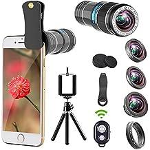 Telefono fotocamera lenti, 12x teleobiettivo + 0.65x obiettivo grandangolo e macro + obiettivo fisheye 180° + filtro stella a clip, lenti per iPhone 876S 6Plus, Samsung smartphone e tablet
