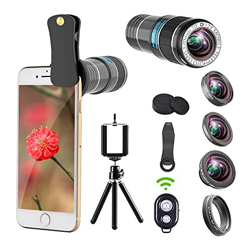 Lentes para cámara de teléfono, Objetivo 12x + Lente 0,65x gran angular y lente macro + lente ojo de pez de 180° + lente de filtro de estrella + Clip para smartphone