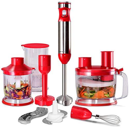 COSTWAY Batidora de Mano Conjunto Mezclador Trituradora Procesador de Alimentos Acero Inoxidable 1000W Velocidad Continua (Rojo)