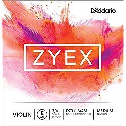 D'Addario DZ311 3/4M - Cuerda para violín en Mi, 3/4 (tensión media)