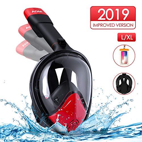 AGM Masque de Plongée sous-Marine, Masque Snorkeling Intégral Plein Visage 180° Visible, GoPro Compatible, Technologie Dry Top, Anti-Brouillard et Anti-Fuite pour Enfants Adultes