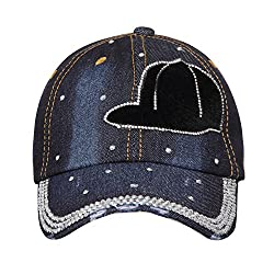 FabSeasons Denim Studded Cap for Women and Girls, Adjustable strap