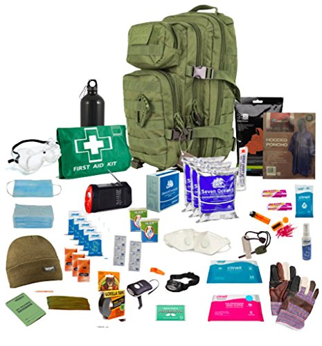 Person-survival-kit (Bug Out Bag ( Olive Green ) One Person 72hr Emergency Kit, Essential for this day and age (Olive Green))