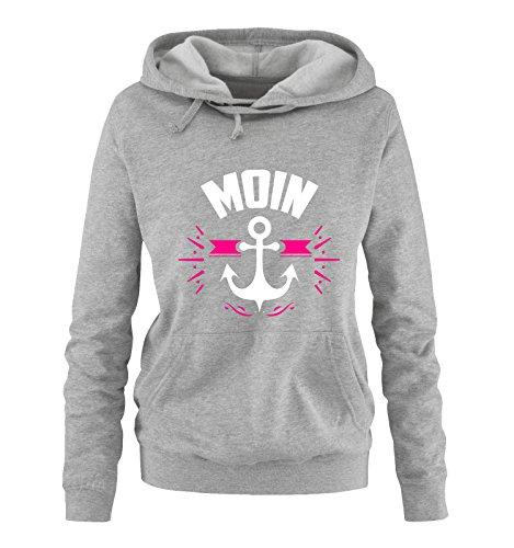 Comedy Shirts - MOIN - ANKER - Damen Hoodie - Grau / Weiss-Pink Gr. (Coole Bärte Und Schnurrbärte)