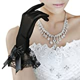 BXT Black Short Satin Semitransparent Dress Gloves Wedding Finger Gloves For Ladies Womens