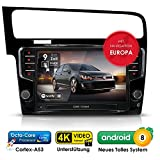 Autoradio Android 8.0 AWS-9600 für VW Golf 7 (ab 2012 -) inkl. Can-Bus | GPS Navigation (Europa-Karten) | DAB+ | Octa-Core | 4K Ultra HD Video | WLAN | Bluetooth (iOS und Android) | MirrorLink | RDS
